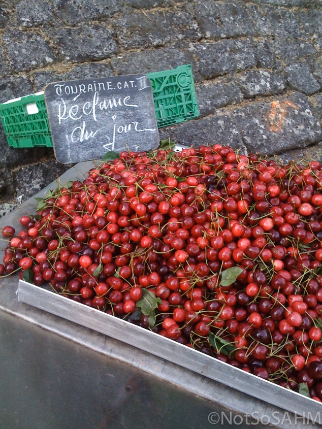 Cherries in open air market Amboise, France Not So SAHM