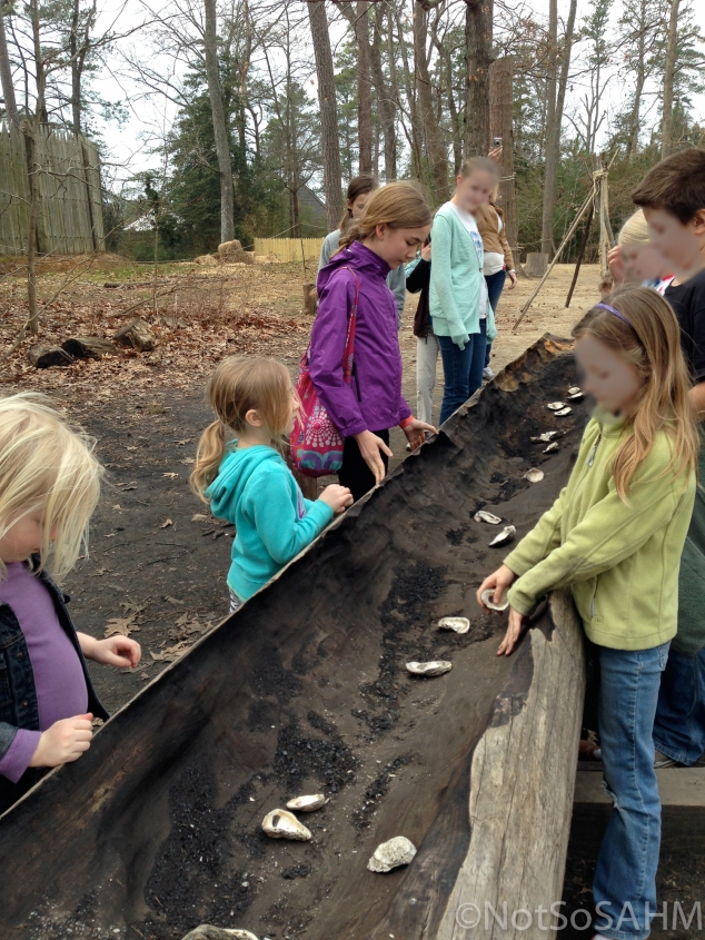 Digging out a canoe at Jamestown Settlement Not So SAHM