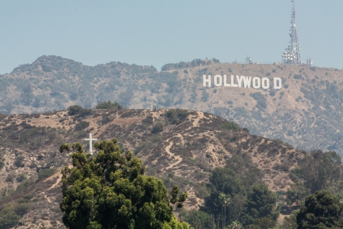 Hollywood sign and a cross