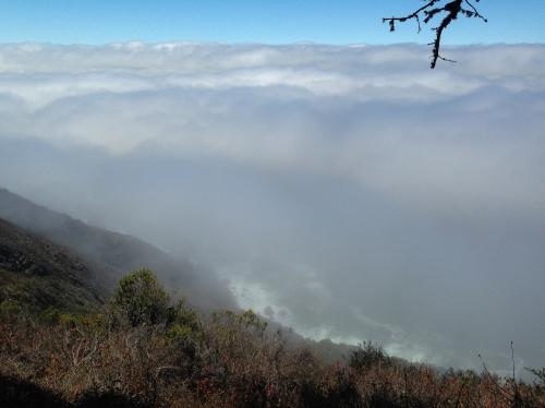 Fog against the mountain