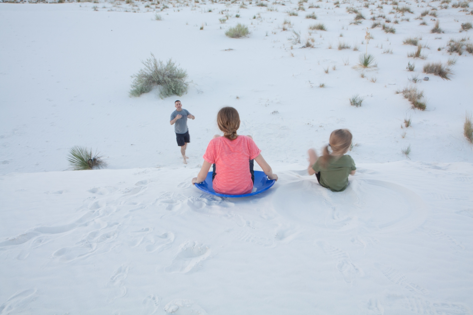 Sledding at White Sands