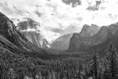 Tunnel View of El Capitan Yosemite Valley black and white Not So SAHM