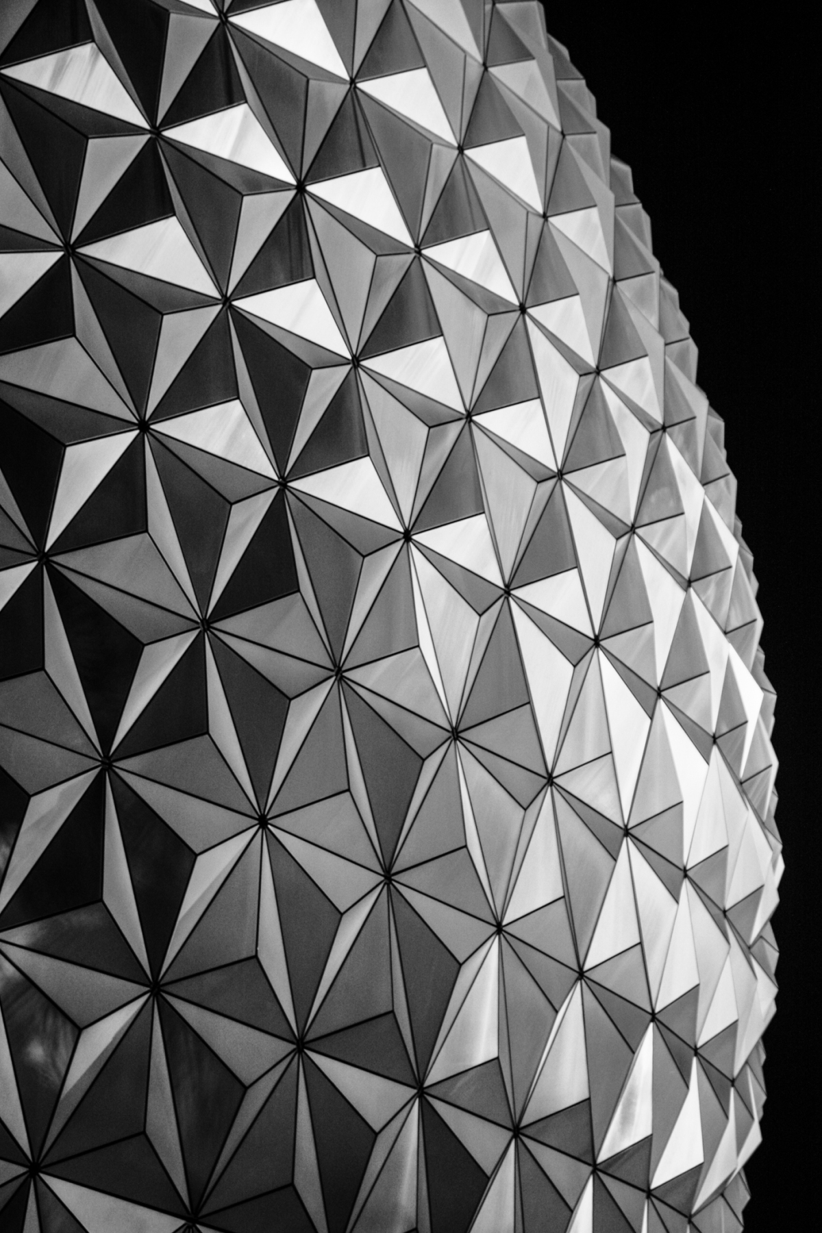 Disney World Epcot's Spaceship Earth in Black and white at night Not So SAHM