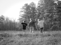 Three kids explore a field NotSoSAHM