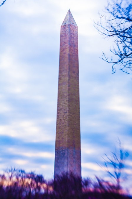 Washington Monument through the LensBaby Spark and saturated with color NotSoSAHM