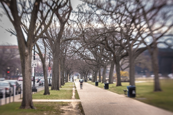 A man jogs down the sidewalk of the National Mall LensBaby Spark NotSoSAHM