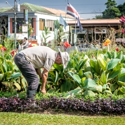 A man tends the public flower beds in the city center square in La Fortuna, Costa Rica NotSoSAHM