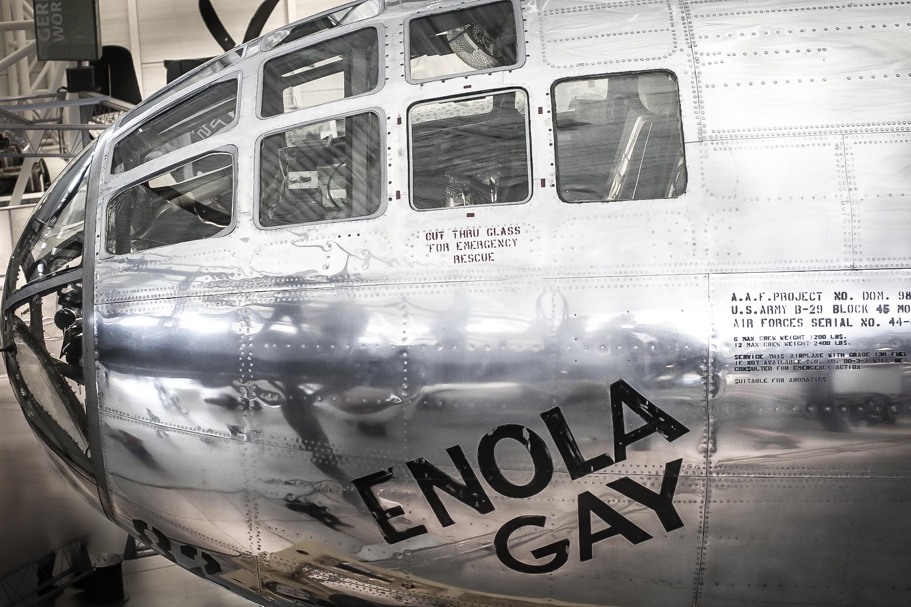 The Enola Gay rests at the Smithsonian Udvar-Hazy Air and Space Museum near Washington D.C. NotSoSAHM