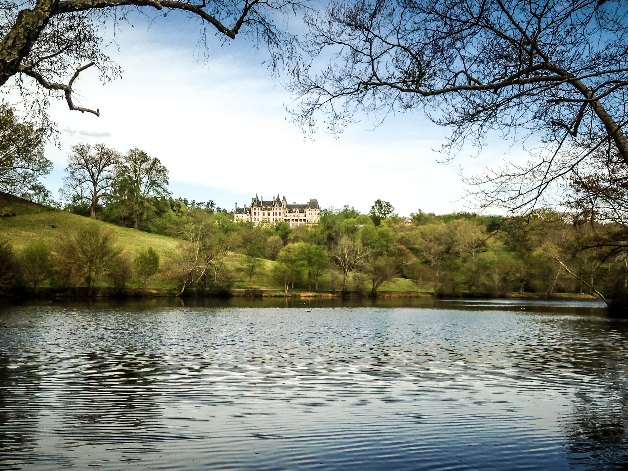 The back of the Biltmore mansion can be viewed from the Lagoon near the house in Asheville, NC NotSoSAHM