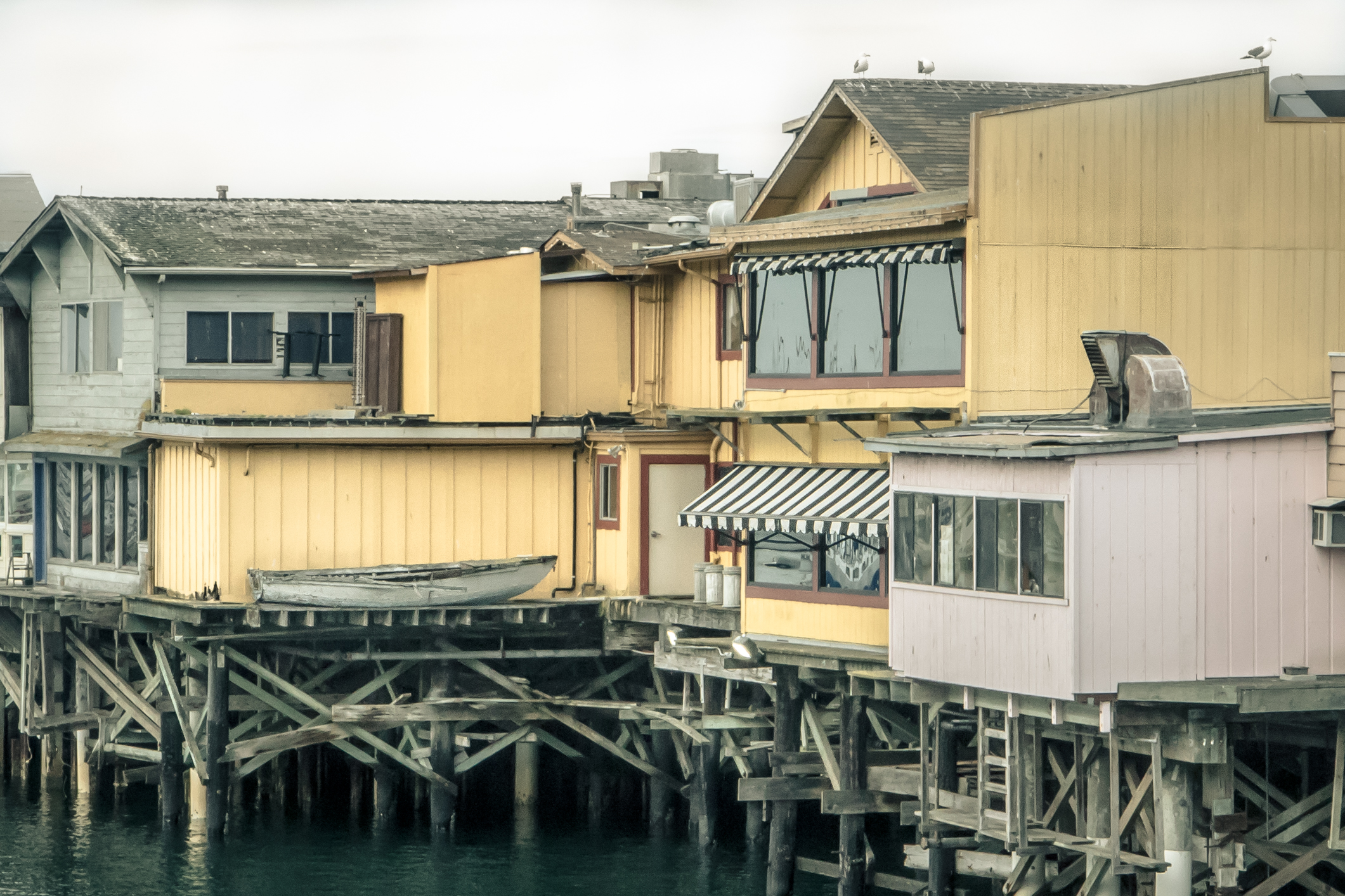 A close-up shot of the back of Fisherman's Wharf in Monterey, CA NotSoSAHM