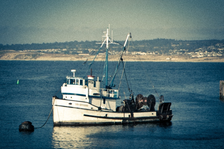 A bottom trawl vessel sits in the Monterey Bay Harbor NotSoSAHM