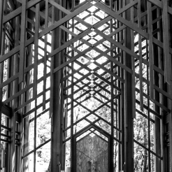 Light streams in through the windows of Thorncrown Chapel in Eureka Springs, AR. NotSoSAHM