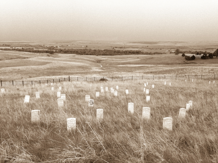 Gravestones dot the hillside at the Battle of Little Bighorn in Montana, also known as Custer's Last Stand NotSoSAHM