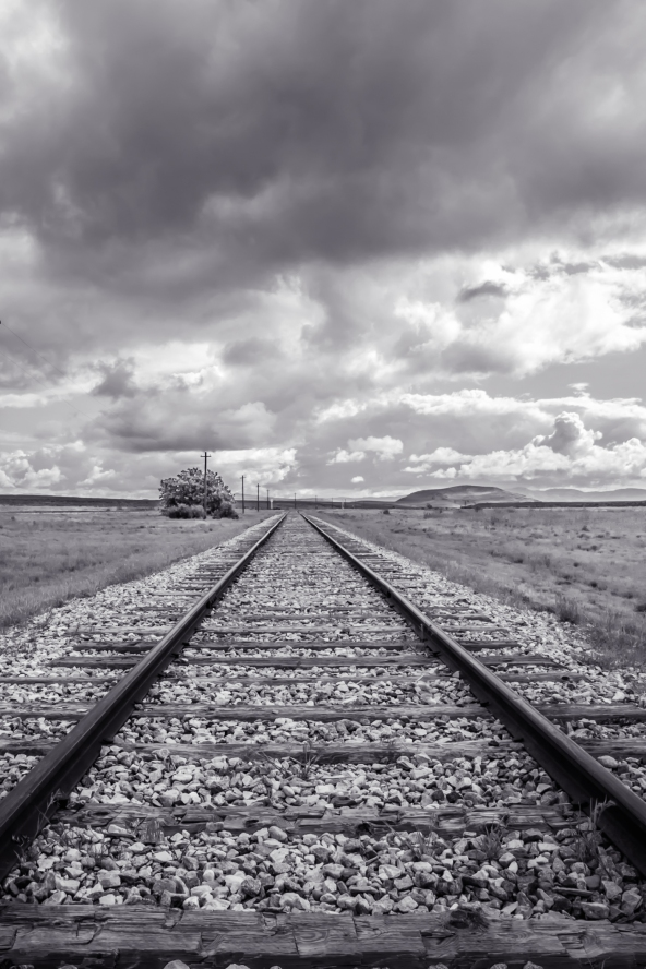 Black and white of the rails of the Transcontinental railroad at Promontory, Utah NotSoSAHM
