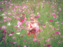 A girl sits amid pink wildflowers NotSoSAHM