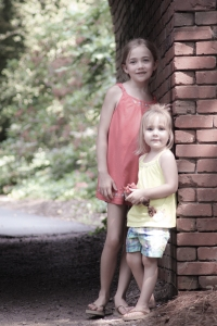 Two girls stand next to a brick wall on the grounds of the Biltmore Estate, Asheville, NC Not So SAHM
