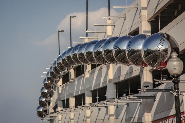 Silver baseballs line the outside of the Nationals' baseball stadium in Washington D.C. Not So SAHM