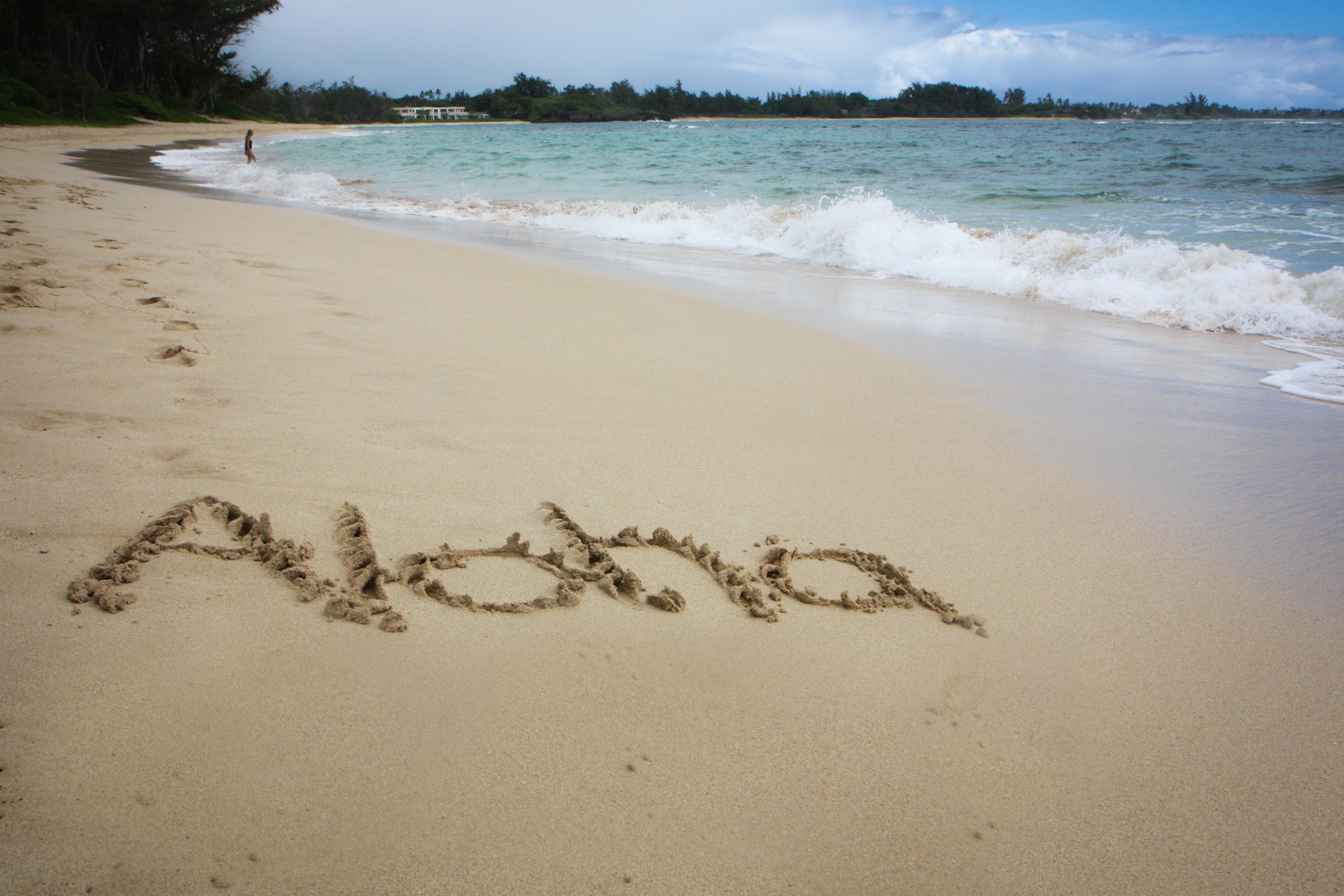 The word aloha is written the in the sand of a beach on the Hawaiian island of Oahu Not So SAHM