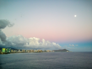 The moon rises over Waikiki and Oahu Not So SAHM
