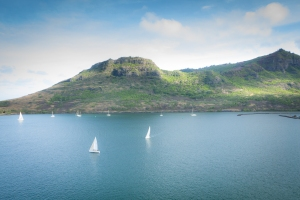 Sailboats drift in Nawiliwili Bay on Kauai Hawaii Not So SAHM