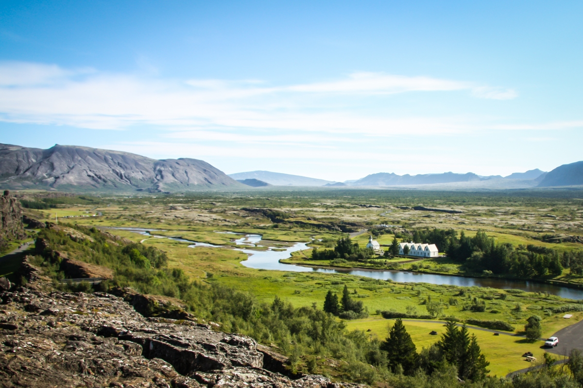 A church sits along the river at Thingvellir National Park - where two tectonic plates meet and where the first parliament in the world met. Not So SAHM