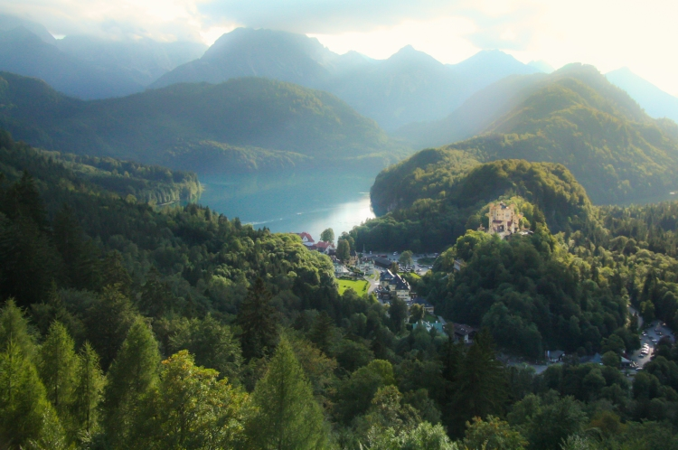 Looking out from Neuschwanstein, you can see the childhood home of King Ludwig, Schloss Hohenschwangau. Not So SAHM