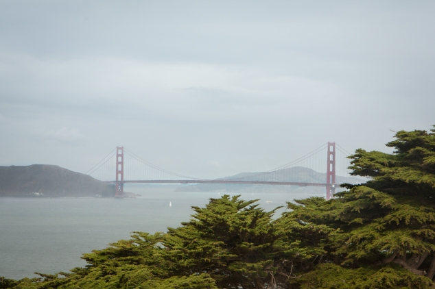 The Golden Gate Bridge sits in haze behind some trees in the foreground. NotSoSAHM