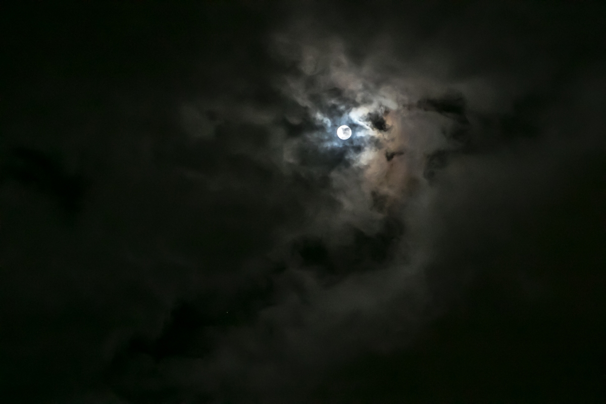 The super moon peeks out from behind the clouds. Not So SAHM