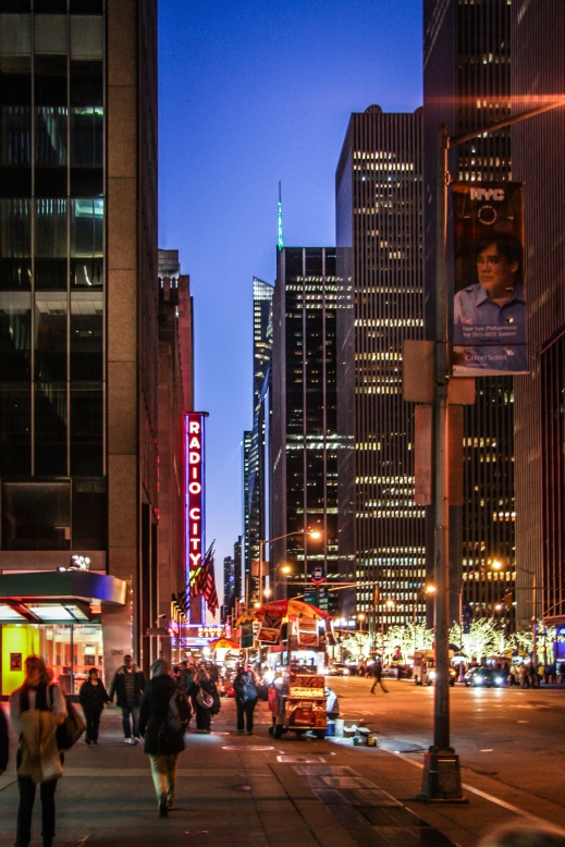 A street photo of NYC and Radio City at night. Not So SAHM