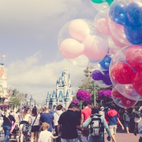 Disney castle and balloons. Photo by VSD Photography